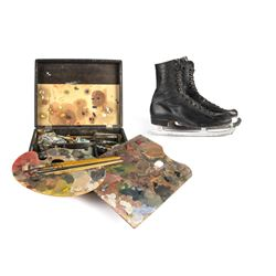 "Frank Thomas Painting Kit & Skates Used During ""Bambi""."