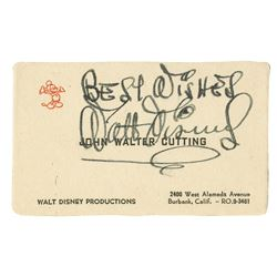 Walt Disney Signed Business Card.