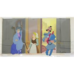 Original Production Cel and Background from  Cinderella .