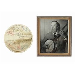 Harper Goff Multi-Signed Banjo Head & Photo.