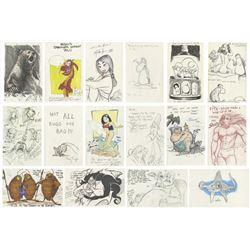 Set of (57) Disney Animator Sketches & Autographs.