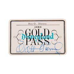 Walt Disney & Roy Disney Signed Disneyland Gold Pass.