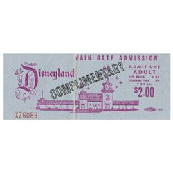 Disneyland Complimentary Main Gate Admission Ticket.
