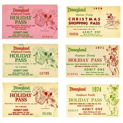 Collection of (6) Disneyland Employee Holiday Passes.