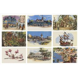 Complete Set of the First 23 Disneyland Postcards.