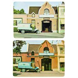 Pair of  Global Van Lines  Disneyland Postcards.