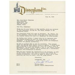 Opening Year Disneyland Letter.