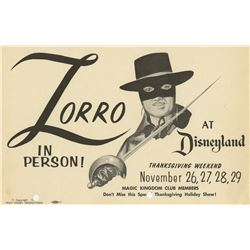 Zorro at Disneyland Event Flyer.