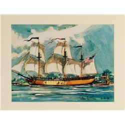 """Sailing Ship Columbia"" Print Signed by Sam McKim."