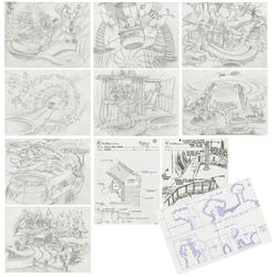"Collection of ""Winnie the Pooh"" Attraction Drawings."