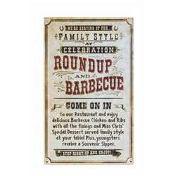 """Celebration Roundup and Barbecue"" Metal Sign."