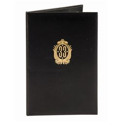 """Club 33"" Dessert Menu Cover."