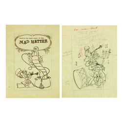 """Alice in Wonderland"" Caterpillar Drawing & Brownline."