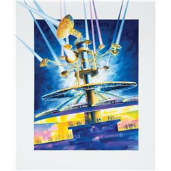 New Tomorrowland  Astro Orbiter  Original Painting.