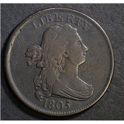 1805 DRAPED BUST HALF CENT, VF+