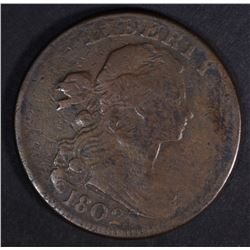 1802 DRAPED BUST LARGE CENT, STEMLESS VF+