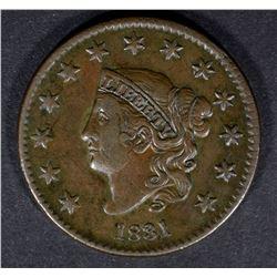 1831 LARGE CENT N-6 XF/AU