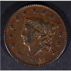 """1833 LARGE CENT """"HORNED 8"""" AU/BU"""