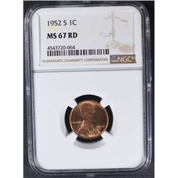 1952-S LINCOLN CENT NGC MS67RD
