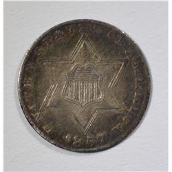 1857 3-CENT SILVER, XF/AU