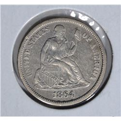 1864-S SEATED DIME, XF RARE LOW MINTAGE!