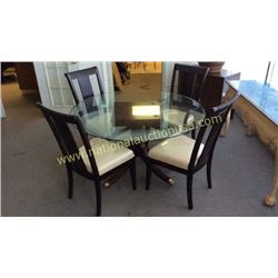 Millender Glass Top Table and 4 FFDM Chairs
