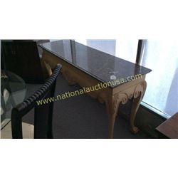 Century Oak and Marble Top Entry/Sofa Table 61W