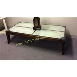 Century Embroidered and Glass Top Rectangular