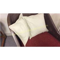 Pair Leather Throw Pillows