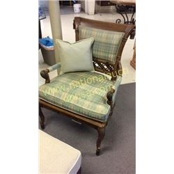 Century Carved Wide Chair with Silk Upholstery
