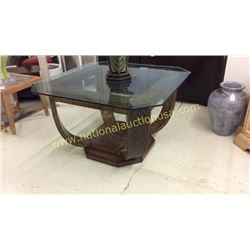 Century Carved and Tacked Entry Table Glass Top