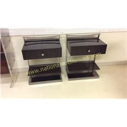 Pair Century Metal Base Night Stands 26W x 32T x