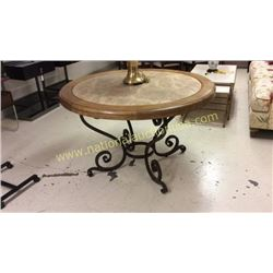 Century Marble Inlayed Entry Table  48Top 30Tall