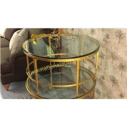 Century Gold Leaf 34in Glass Top Cocktail Table