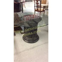 Century Pillar Entry Table with 44in Glass