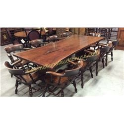 Century Slab Table and 10 Pub Chairs  104L x 47W
