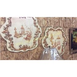 Pair Ardley hall Hand Carved/Painted Wood Wall