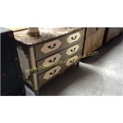 Century 3 Drawer Marble Top Chest 48W x 34T x