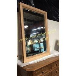 Oak Frame Beveled Mirror 39 x 54