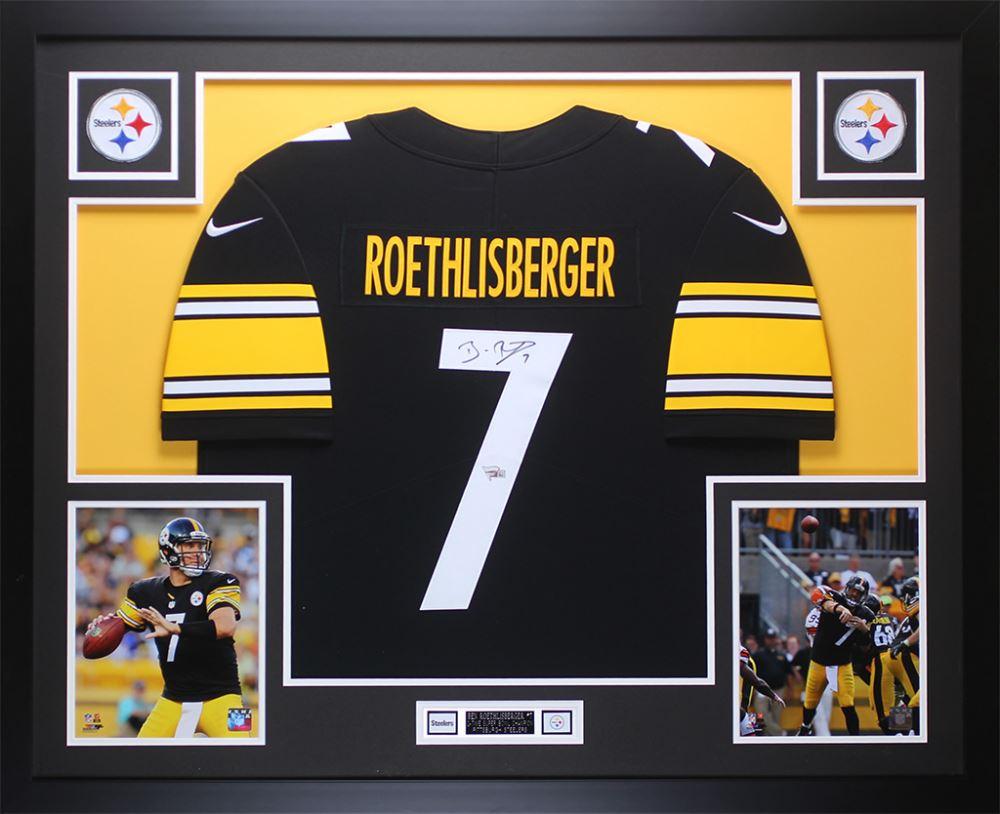 separation shoes 28ee1 2953b Ben Roethlisberger Signed Steelers 35x43 Custom Framed ...