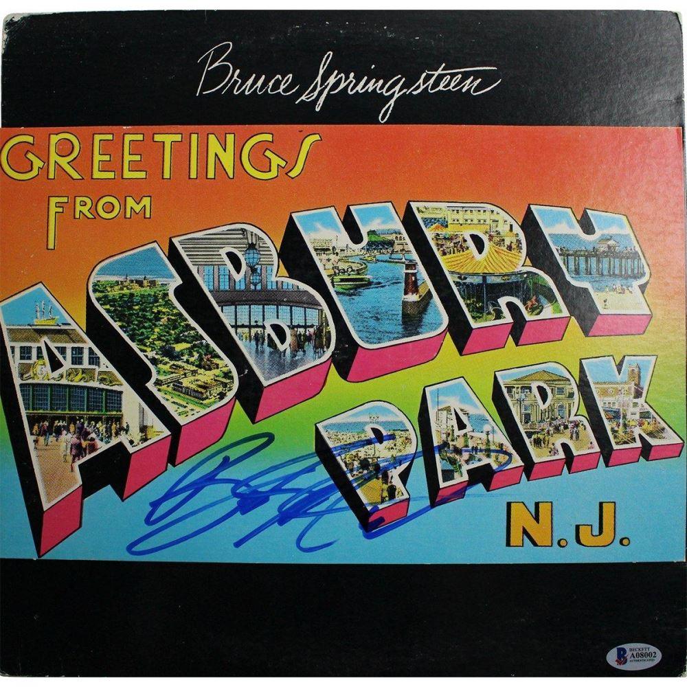"Bruce Springsteen Signed ""Greetings from Asbury Park, N.J."" Vinyl Record  Album (Beckett COA)"