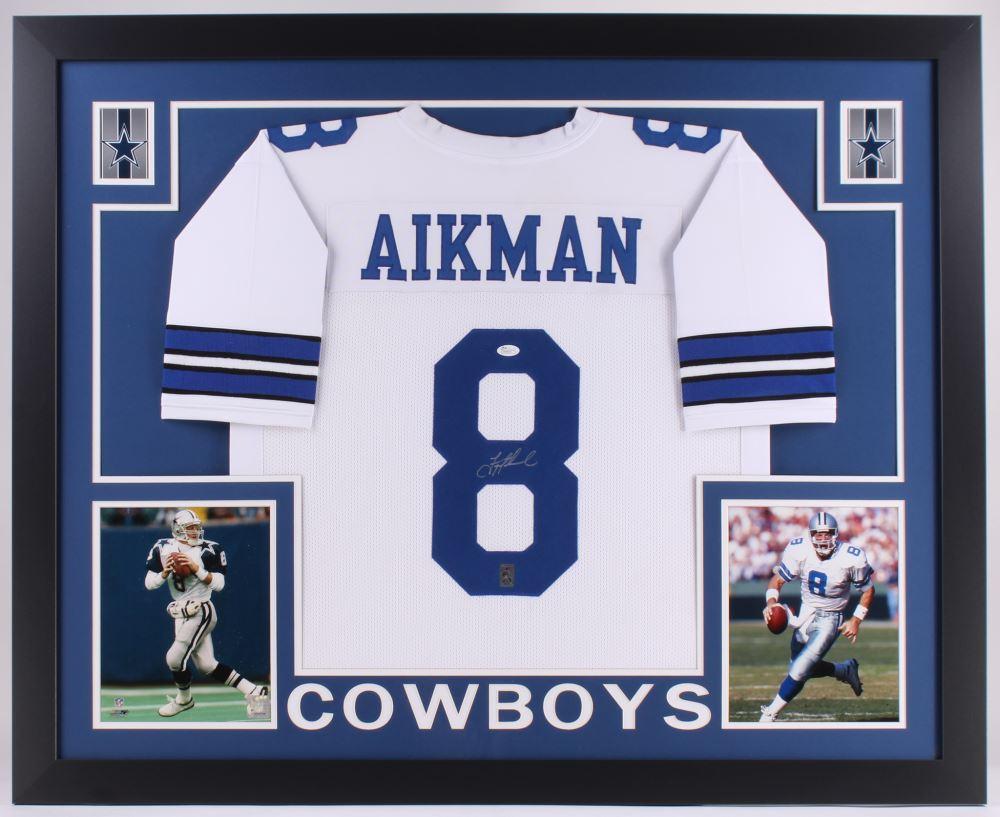 27e0b43a43d Image 1 : Troy Aikman Signed Cowboys 35x43 Custom Framed Jersey (JSA COA  Aikman Hologram