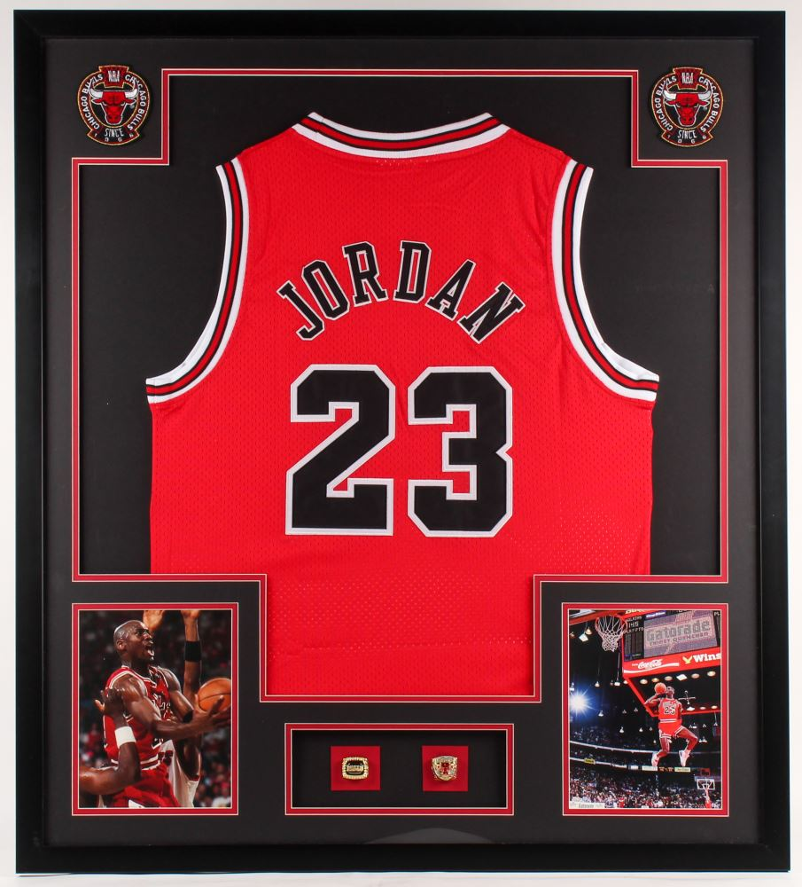 online store 575ab 72e01 Michael Jordan Bulls 34x38 Custom Framed Jersey Display ...