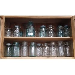 TWO SHELF LOTS VINTAGE GLASS CANNING JARS