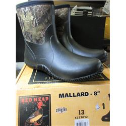 New Mens Red Head  / Mallard 8 inch size 13 Boot / rubber boot