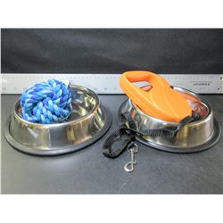 New Pet Bundle / 2 Stainless steel Bowls / Retractible Leash / Braided ball