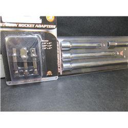 New 3 piece Stubby Socket Adaptors & 4 piece 3/8 drive extension set