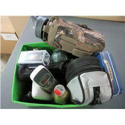 Bin full of Assorted Household items / watch-phone dominos etc.