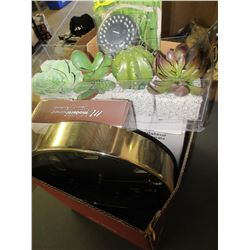 Flat of Assorted Items / Fan / clock / Water pic shower head / and more