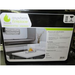 New Anywhere Fireplace / Metropolitan glass/stainless steel table top
